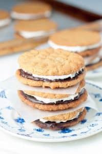Flourless Peanut Butter, Chocolate, Marshmallow Sandwich Cookies