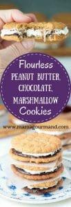 Flourless Peanut Butter Chocolate Marshmallow Sandwich cookies have a gluten free chewy peanut butter cookie with chocolate ganache and marshmallow buttercream. https://www.mamagourmand.com