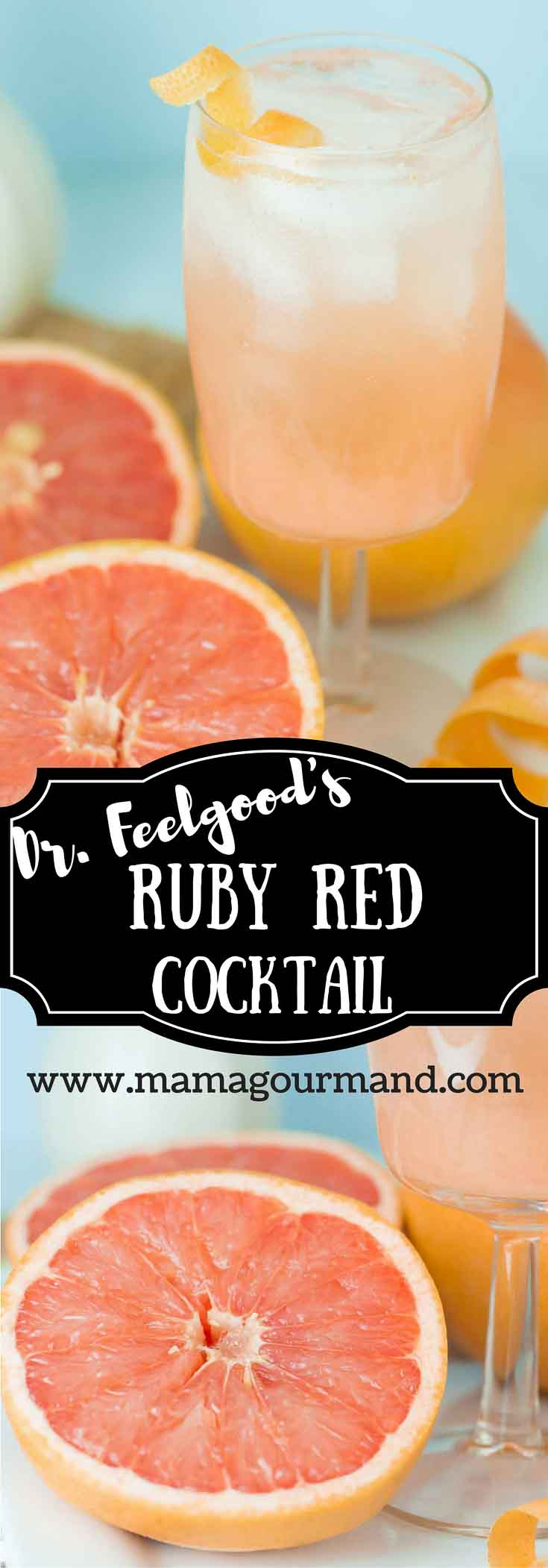 Dr. Feelgood's Grapefruit Cocktail combines fresh ruby red grapefruit juice, tangy grapefruit vodka, and sparkling ginger ale. https://www.mamagourmand.com