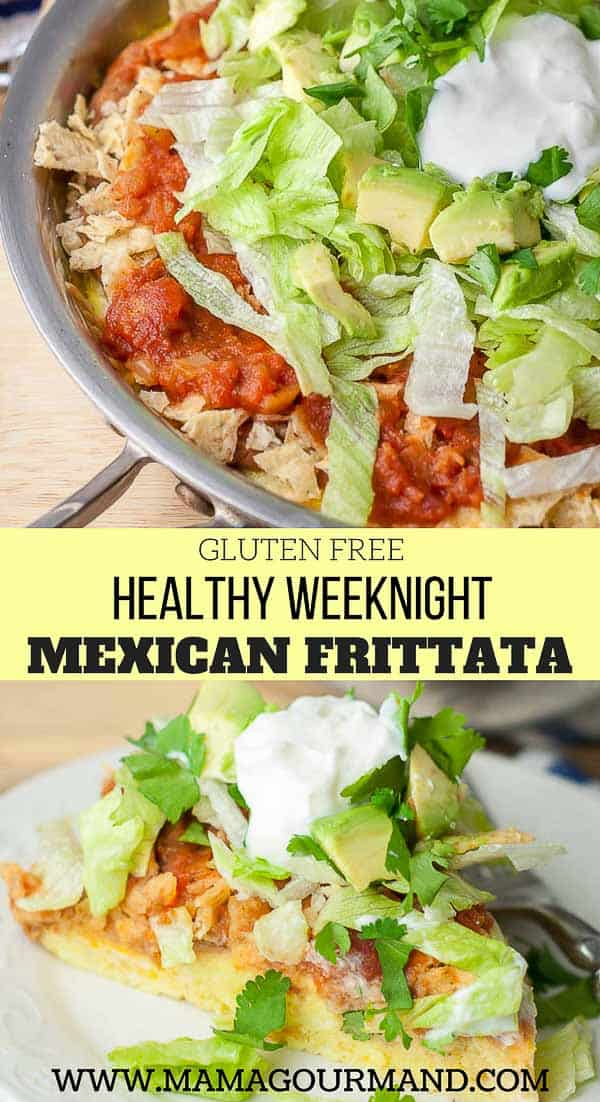 Mexican Layered Frittata teaches you how to make an easy frittata recipe and then layer it with fixings so it's just how you like it! This recipe is perfect for breakfast, brunch, or an one pan, healthy, weeknight dinner. How can you go wrong with cheesy eggs, mixed with tortilla chips, and layered with salsa? #heathy #easy #weeknight #onepan https://www.mamagourmand.com