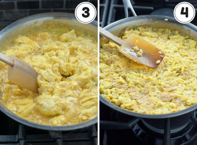 shots showing steps of making Mexican frittata - scrambling eggs and stirring in tortilla chips