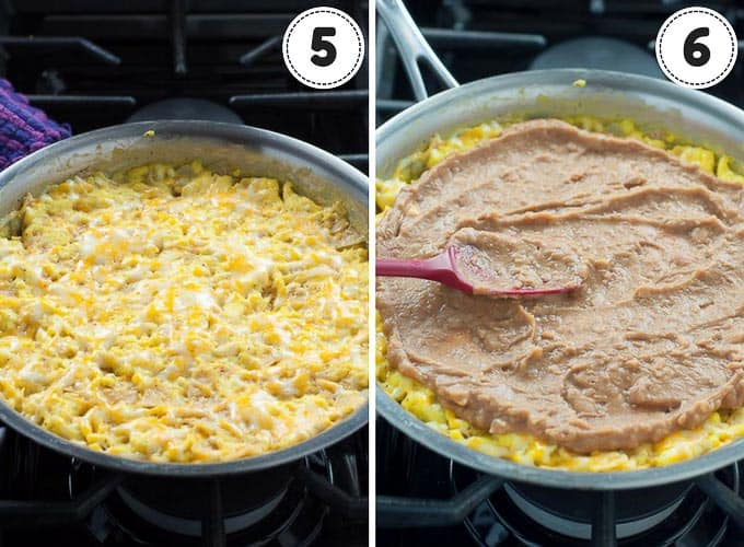 shots showing steps of making Mexican frittata - topping with cheese and spreading on refried beans