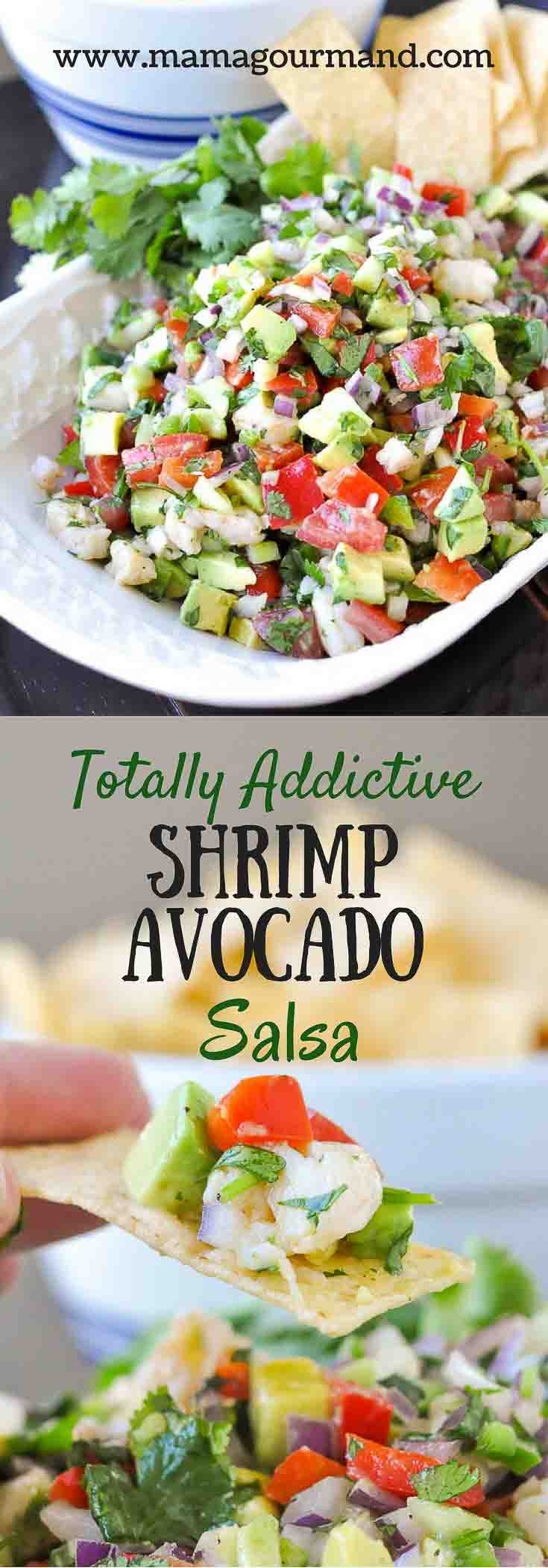 Totally Addictive Shrimp Avocado Salsa uses fresh garden ingredients and easily tosses together to make one surprisingly flavorful and addictive appetizer. https://www.mamagourmand.com