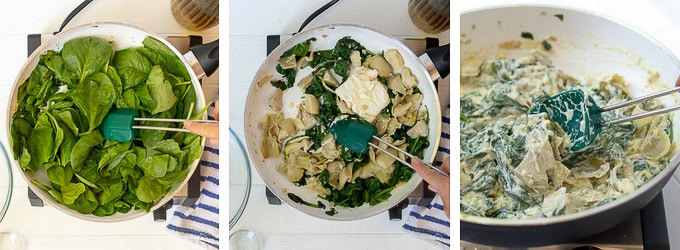 collage of images showing how to make filling for spinach stuffed chicken