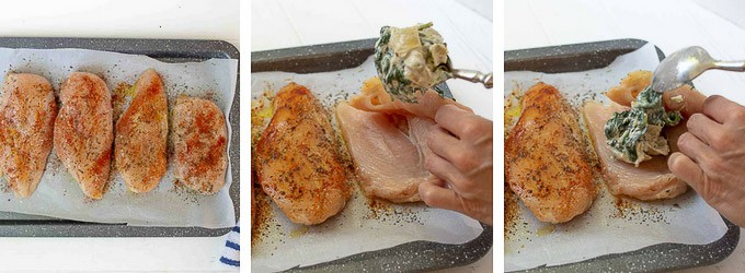collage of images showing how to cut fill stuffed chicken breasts