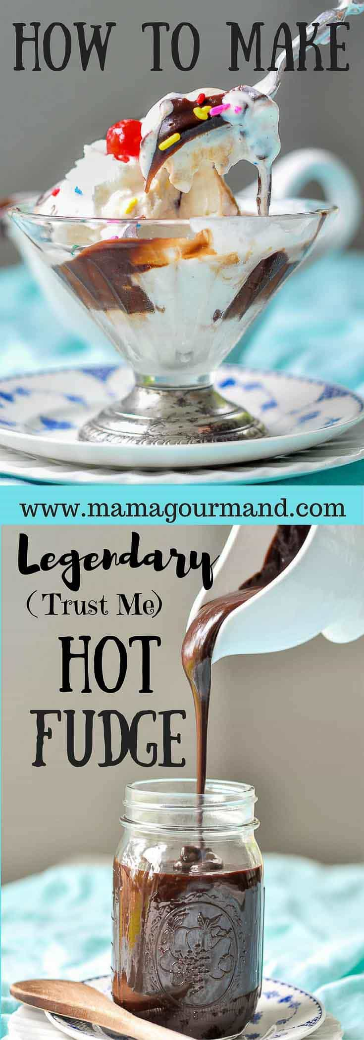 I've been making this legendary homemade hot fudge sauce for years. I've tried others, but this simple, chewy, gooey hot fudge recipe can't be beat! #hotfudge #homemadehotfudge #chocolatesauce #chewyhotfudge #glutenfreedessert https://www.mamagourmand.com