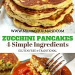 Only 4 simple ingredients stand in the way of making these extremely easy, healthy Zucchini Pancakes. Hands down the best version of all the zucchini pancake recipes out there! #zucchini #bisquick #healthy #glutenfree #pancakes https://www.mamagourmand.com