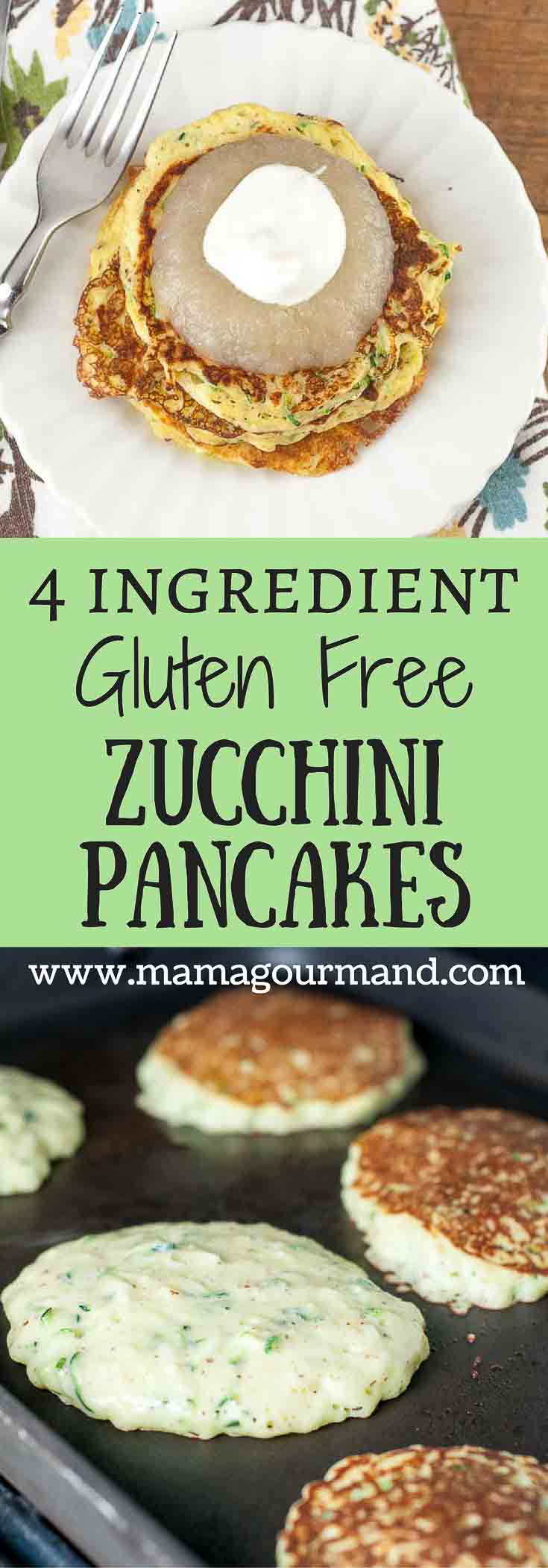 Only 4 simple ingredients stand in the way of making these Easy Gluten Free Zucchini Pancakes. Hands down the best version of all the zucchini pancake recipes out there! https://www.mamagourmand.com