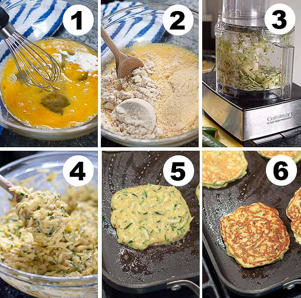 step by step photos of gluten free zucchini pancakes being made