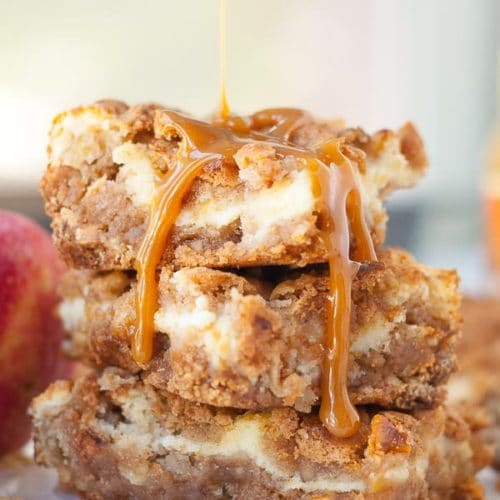 Butterscotch Apple Cheesecake Bars has simple, no fuss ingredients, and easy prep, but makes one legendary apple bar recipe! www.mamagourmand.com