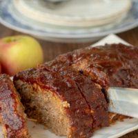 pork meatloaf being sliced