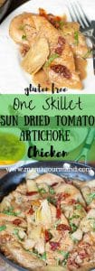 Artichoke, Sun Dried Tomato, Chicken Skillet is an easy, quick, one pot weeknight meal on your table in 30 minutes, but tastes anything but simple! https://www.mamagourmand.com