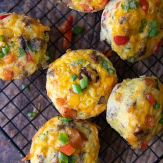 overhead shot of egg muffins on wire rack