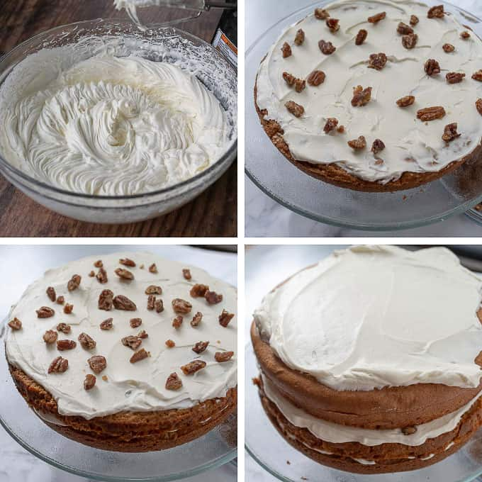 step by step photos showing how to make pumpkin cake piecaken