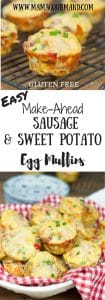 Make Ahead Sausage, Sweet Potato, Egg Muffins is a perfect all-in-one muffin egg cup you can easily reheat for holiday breakfasts, brunch, or busy mornings. https://www.mamgourmand.com