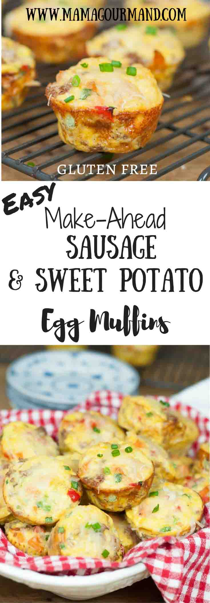 Make Ahead Sausage, Sweet Potato, Egg Muffins is a perfect all-in-one muffin egg cup you can easily reheat for holiday breakfasts, brunch, or busy mornings. #makeahead #eggmuffins #glutenfreebreakfast #easybreakfast https://www.mamagourmand.com