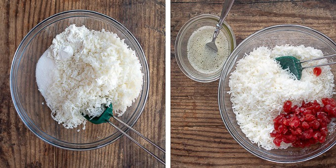step by step photos showing how to make chocolate coconut macaroons