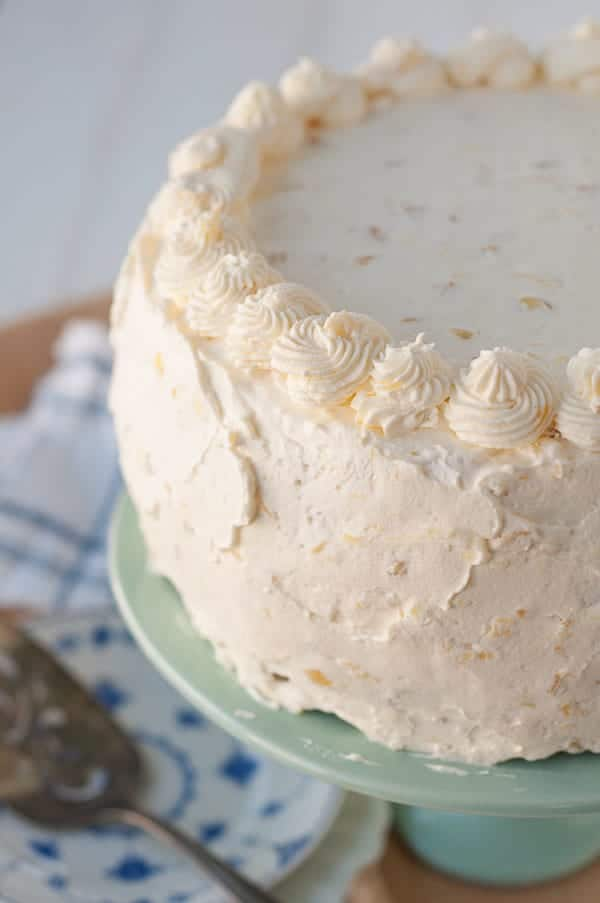 A close up of the Fluffy Pineapple Whipped Cream Frosting