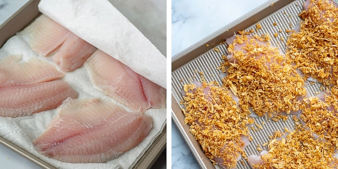 second two steps of how to make oven fried fish