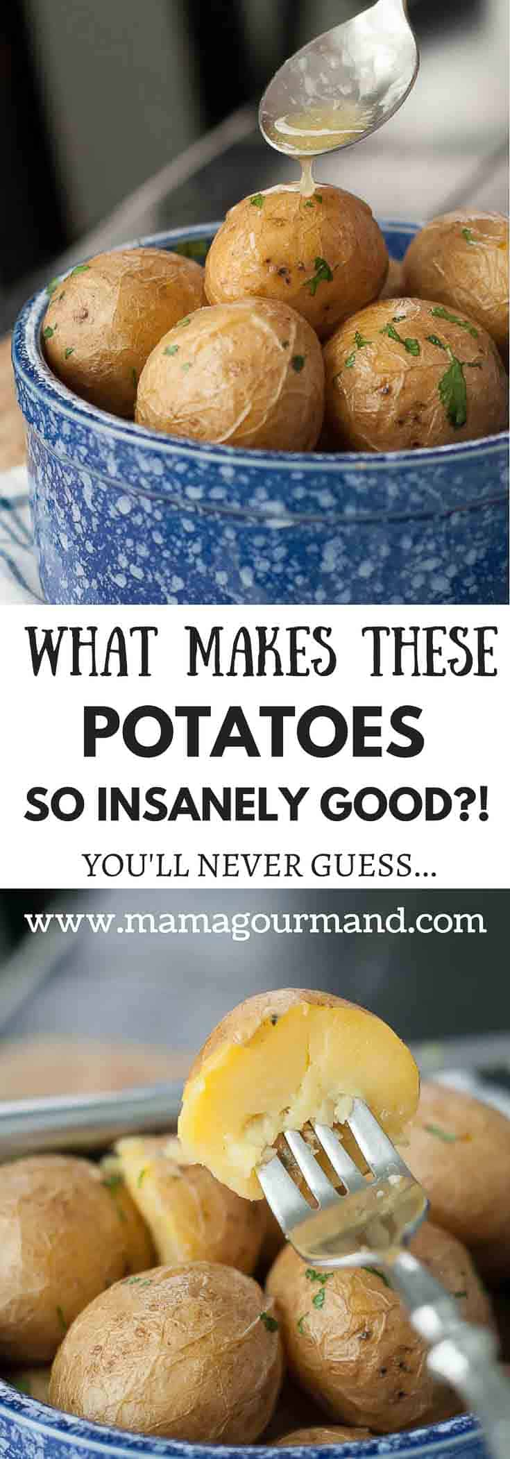 Boiled Salt Potatoes have an insanely creamy texture inside because of how they are made. This ridiculously easy side dish always gets rave reviews, but people can't believe how simple the recipe is. #boiledpotatoes #easysidedish #glutenfreeside #holidaydinner #potatoes #saltpotatoes https://www.mamagourmand.com