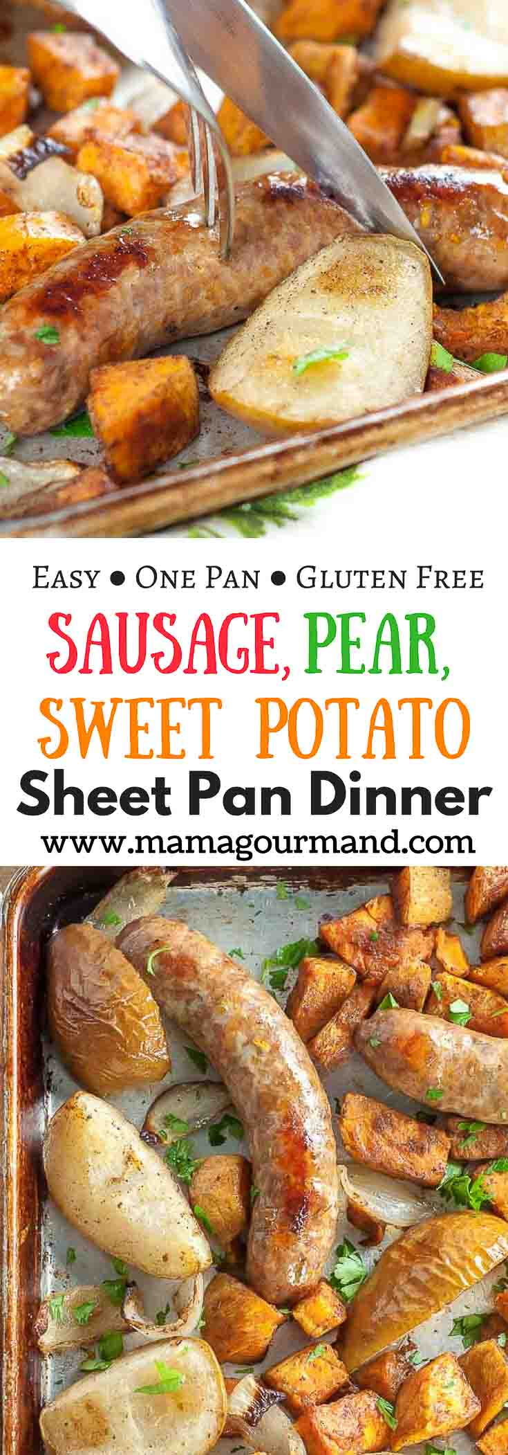 Sausage, Pear, Sweet Potato Sheet Pan Dinner Pinterest pin