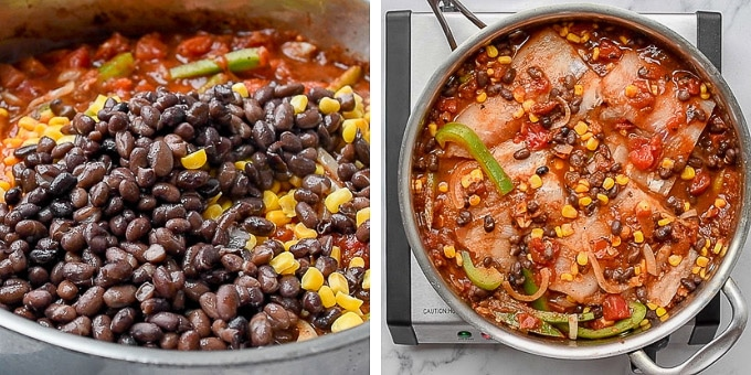 step by step photos showing how to make mexican fish - adding beans and corn and placing fish in sauce