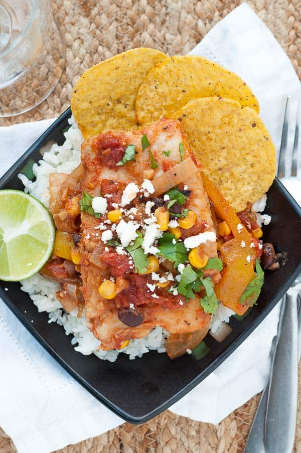 An overhead shot of Healthy Weeknight Mexican Alaska Pollock Fish served on a dinner plate