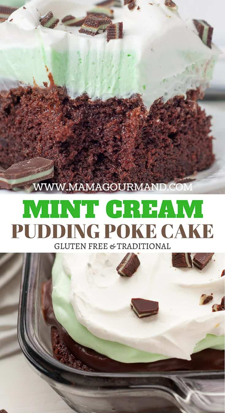 Fluffy Mint Cream Chocolate Pudding Poke Cake Pinterest pin
