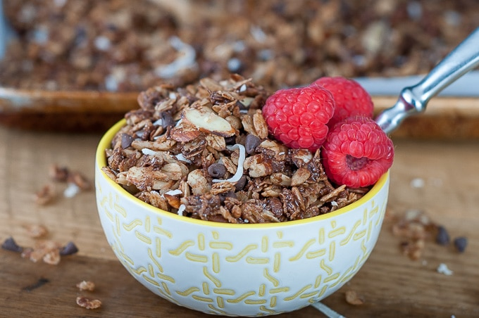another view of chocolate granola with berries in a bowl