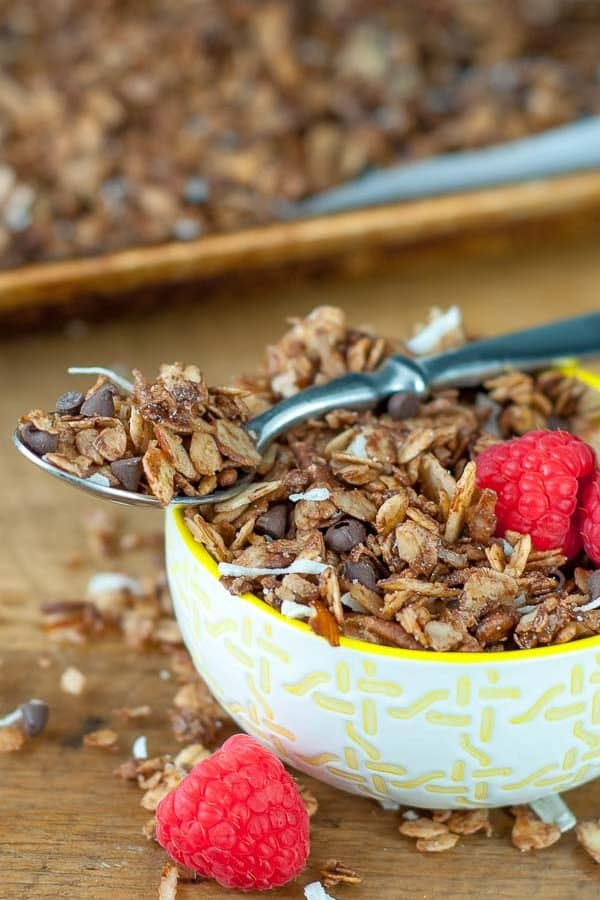 a spoonful of chocolate granola resting on top a bowl