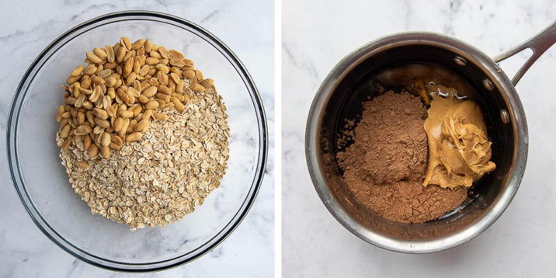 images showing how to make chocolate peanut butter mixture for granola