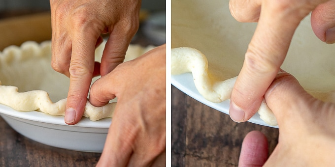 images showing how to crimp edges for gluten free pie crust