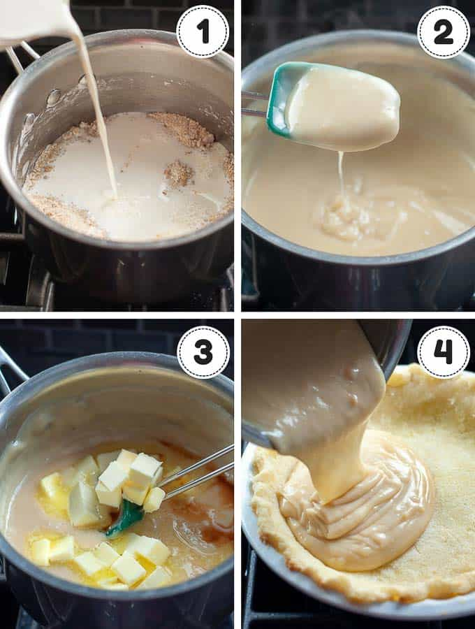 a photo collage showing the 4 steps of making sugar cream pie