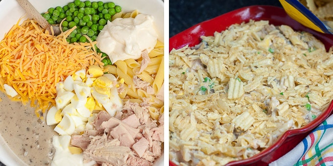 steps showing how to make tuna noodle casserole from scratch, mixing in bowl and layering with potato chips