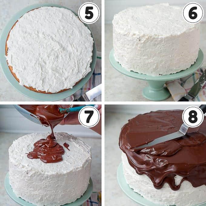 process shots showing first 4 steps of making almond joy cake