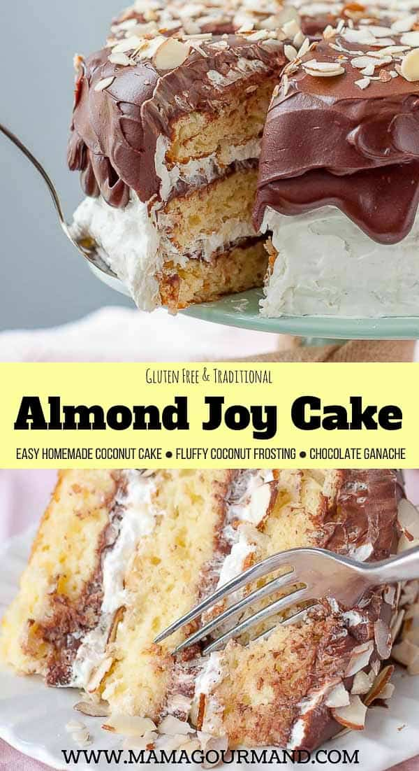 Almond Joy Cake takes the best candy bar out there and transforms it into an unbelievably decadent layer cake! An easy, homemade coconut cake is layered with fluffy coconut frosting and filling, toasted almonds, and chocolate ganache. #coconutcake #coconutfrosting #almondjoy #birthday https://www.mamagourmand.com