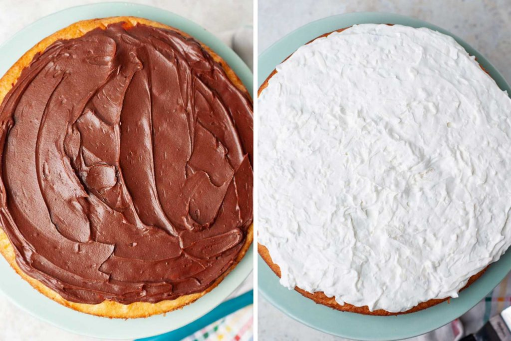 images showing how to frost an almond joy cake