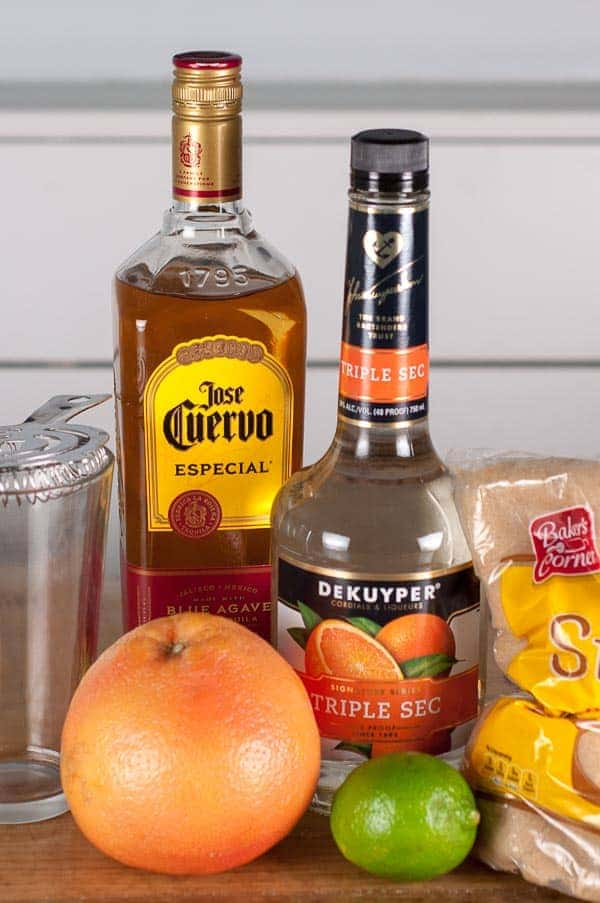 shot showing all ingredients needed to make grapefruit margaritas