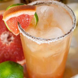 close up shot of top of grapefruit margarita glass