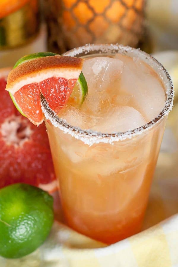 close up shot of top of grapefruit margarita glass