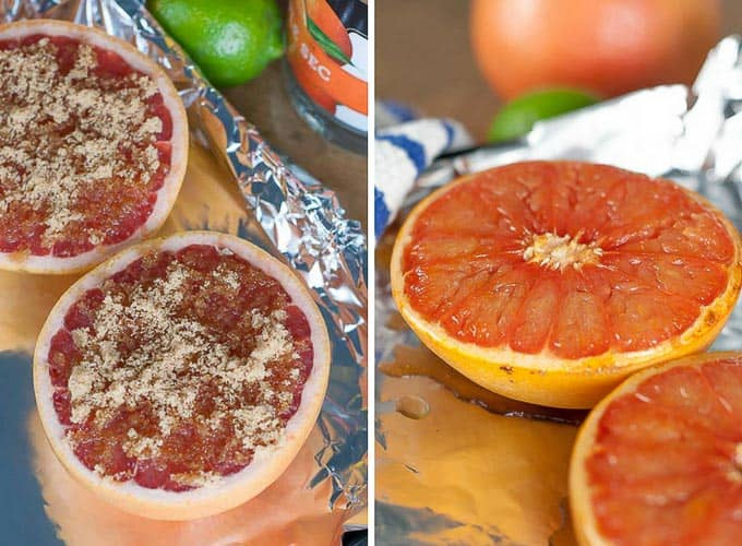 side by side shot of grapefruit sprinkled with brown sugar and what it looks like after broiling