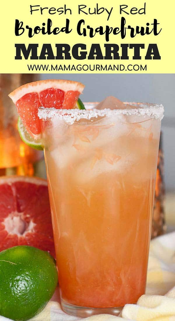 Broiled Grapefruit Margarita recipe will make you never want to go back to traditional margaritas again. The sweet tanginess of freshly squeezed pink, ruby red grapefruit juice pairs perfectly with tequila, orange triple sec, and fresh lime juice. #skinny #grapefruit #margarita #pink https://www.mamagourmand.com