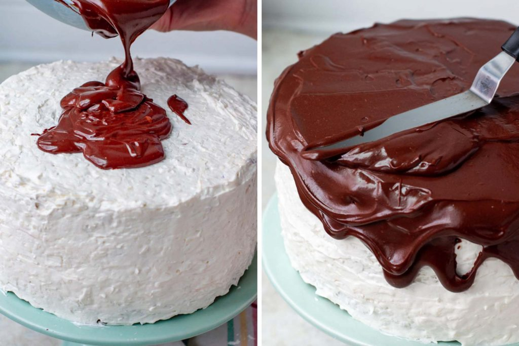 images showing chocolate ganache being spread on an almond joy cake