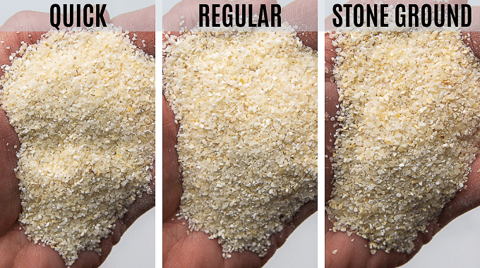 hand showing the different types of dried grits, quick, regular, and stone ground