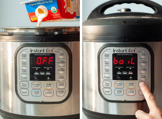 side by side shots showing process of making yogurt - pouring in milk and boiling in instant pot