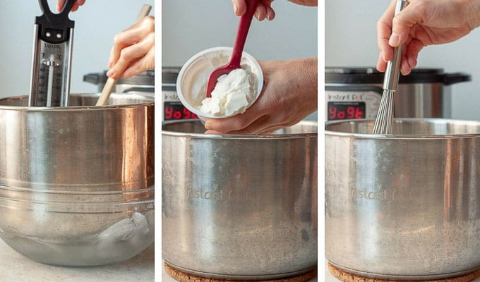 side by side shots showing process of making yogurt - cooling, putting in starter, and whisking