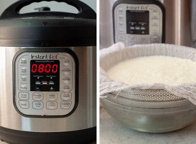 side by side shots showing process of making yogurt - cooking for 8 hours and straining