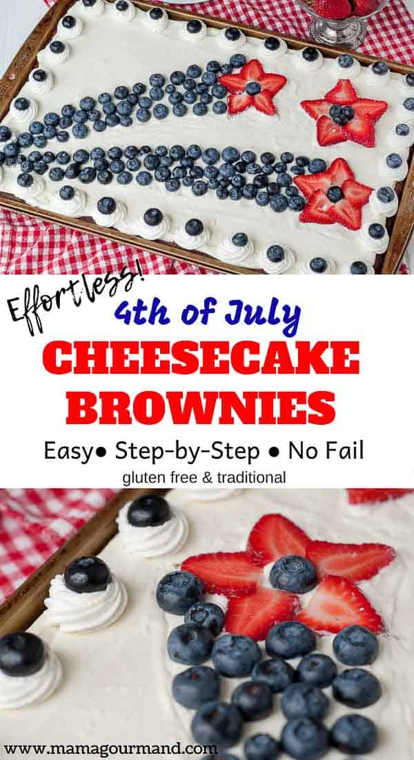 Looking for a creative, red, white, and blue, show-stopping dessert recipe for a 4th of July party? Easy 4th of July Brownies taste amazing, look spectacular, but are completely manageable to pull off. No baking extraordinaire experience required! #4thofJuly #easy #brownies #dessert https://www.mamagourmand.com