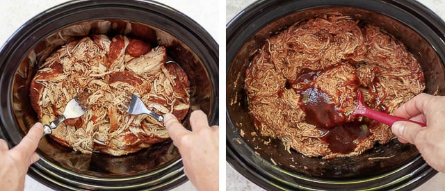 side by side shots showing process of making BBQ pulled chicken
