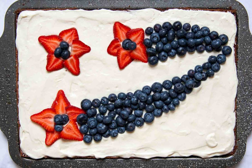 overhead shot of red, white, and blue decoration on brownies